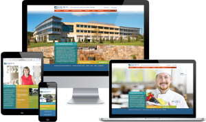 Example of hobbsbrook.com's responsive design on multiple digital platforms. Home page images cycle between photos of people and buildings within the HBM portfolio.